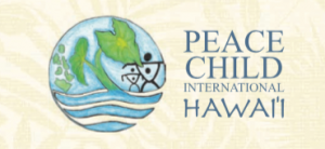 Logo for Peace Child International Hawaii.  Has a round globe shape with taro leaf and an adult and child inside.